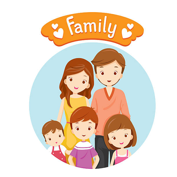 happy family portrait - brother stock illustrations, clip art, cartoons, & icons