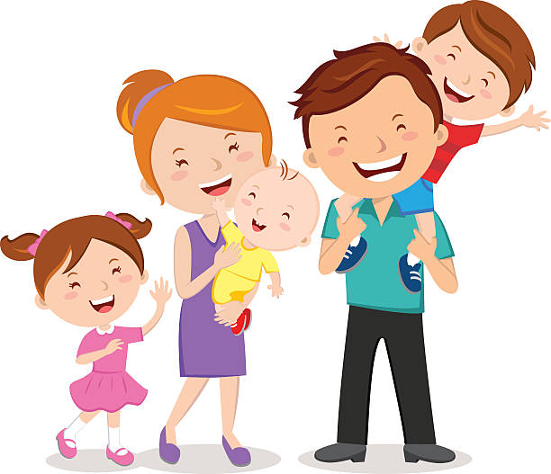 happy family portraits - happy family stock illustrations