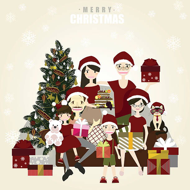 happy family posing for photo at christmas.vector/illustrator - old man photo pictures stock illustrations, clip art, cartoons, & icons