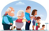vector illustration of happy family queueing…