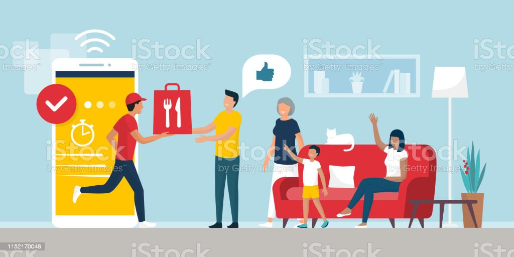 Happy family receiving a ready meal at home using a smartphone app - Grafika wektorowa royalty-free (Aplikacja mobilna)