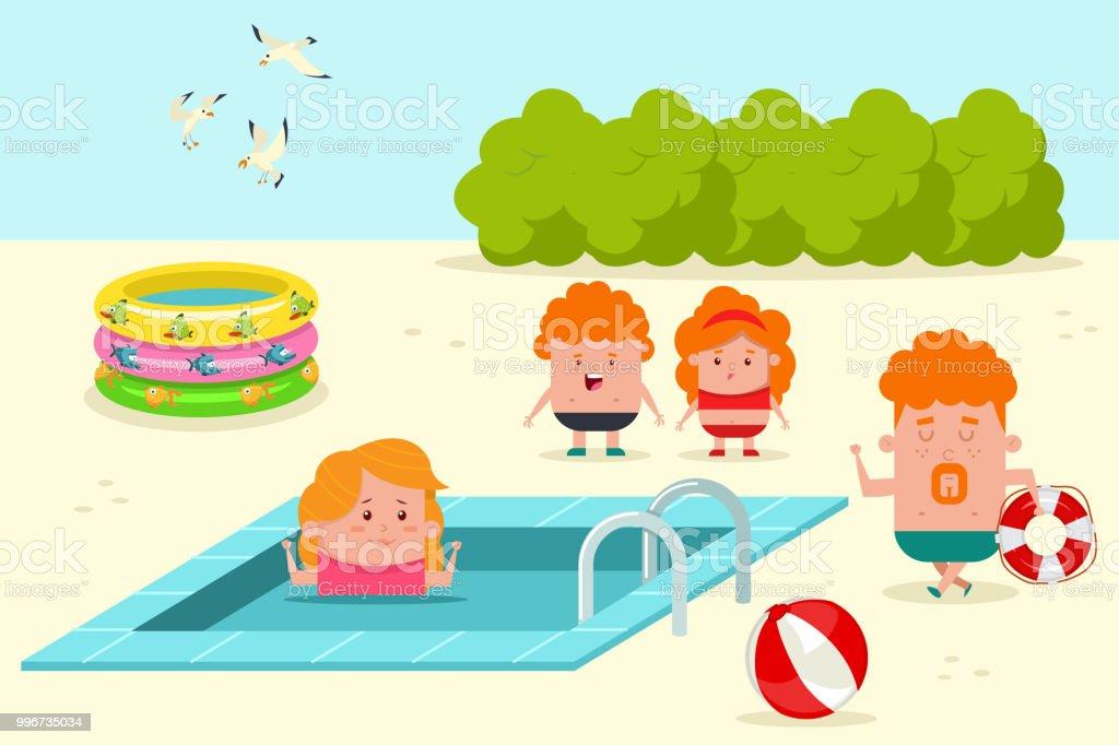 Ilustración De Familia Feliz Relajante En La Piscina Verano Vector