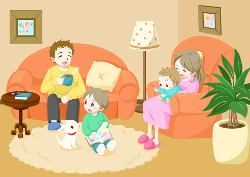 Happy family relaxing in the living room. / Vector illustration