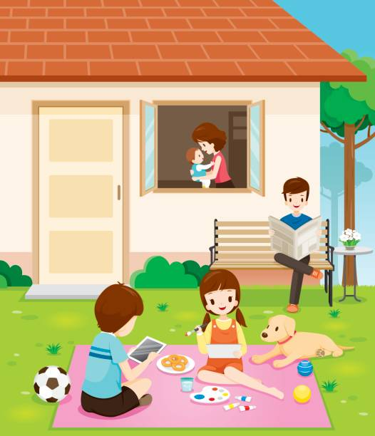 Happy Family Relaxing With Activities At Their Home vector art illustration