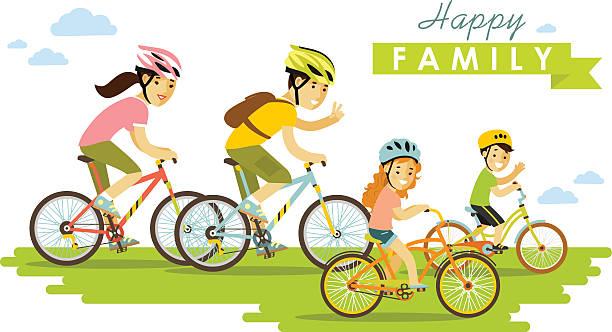 glückliche familie reiten auf fahrräder isoliert auf weißem hintergrund hd-stil - urlaubsaktivitäten stock-grafiken, -clipart, -cartoons und -symbole