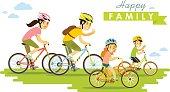 Happy family riding bikes isolated on white background flat style