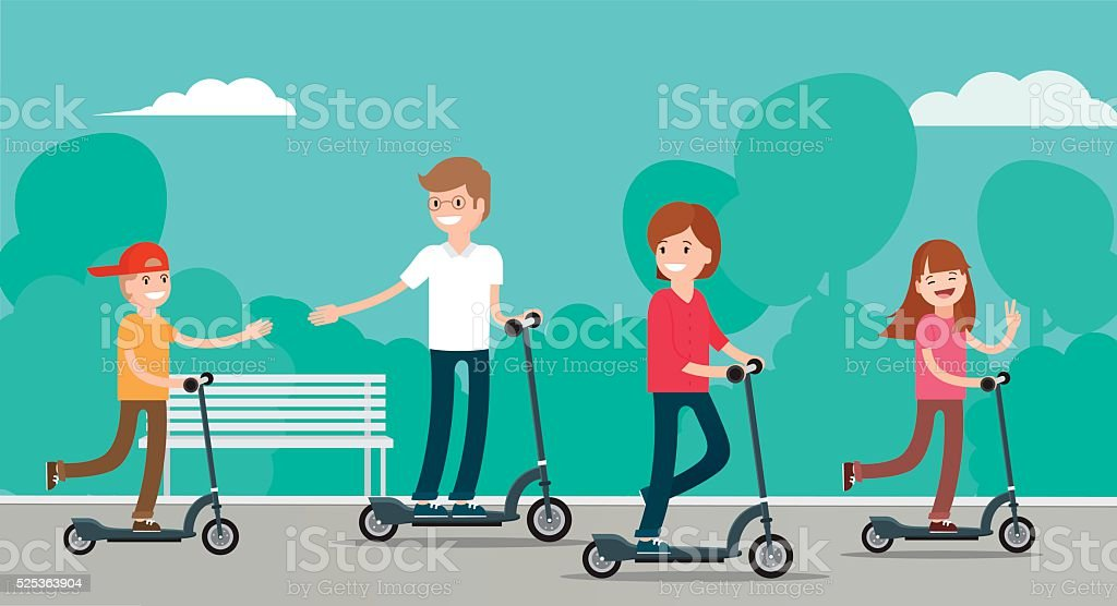 Happy family riding scooters in  public park. vector art illustration