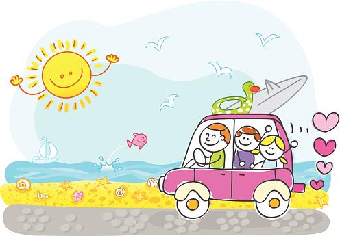 happy family riding to summer holiday beach cartoon illustration