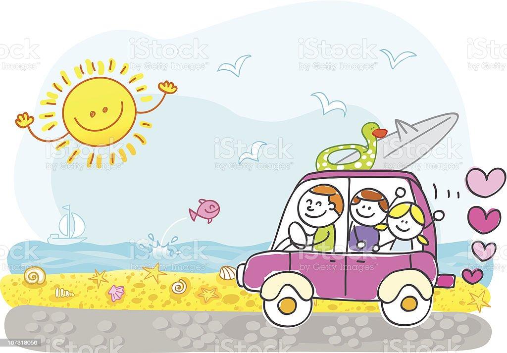 happy family riding to summer holiday beach cartoon illustration vector art illustration