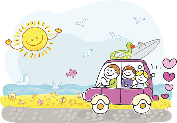 Famille heureuse en vacances d'été Plage à cheval dessin illustration - Illustration vectorielle