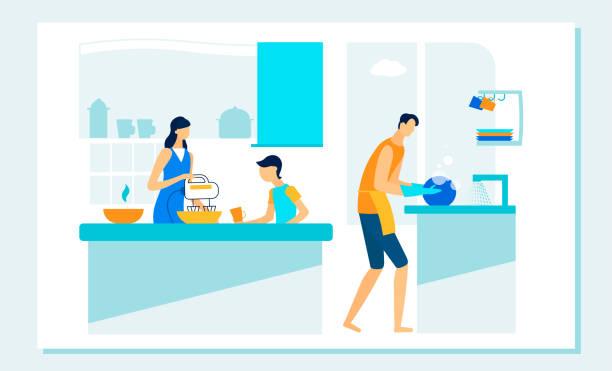 ilustrações de stock, clip art, desenhos animados e ícones de happy family routine on kitchen. leisure, duties. - cooker happy
