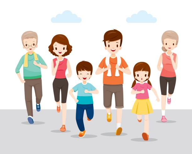 Happy Family Running Together For Good Health vector art illustration