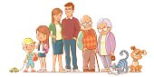 Family together. Group of people standing. Little boy, teenager girl, woman, man, old man, senior woman, cat, dog. Father, mother, sister, brother, grandfather, grandmother, pets.