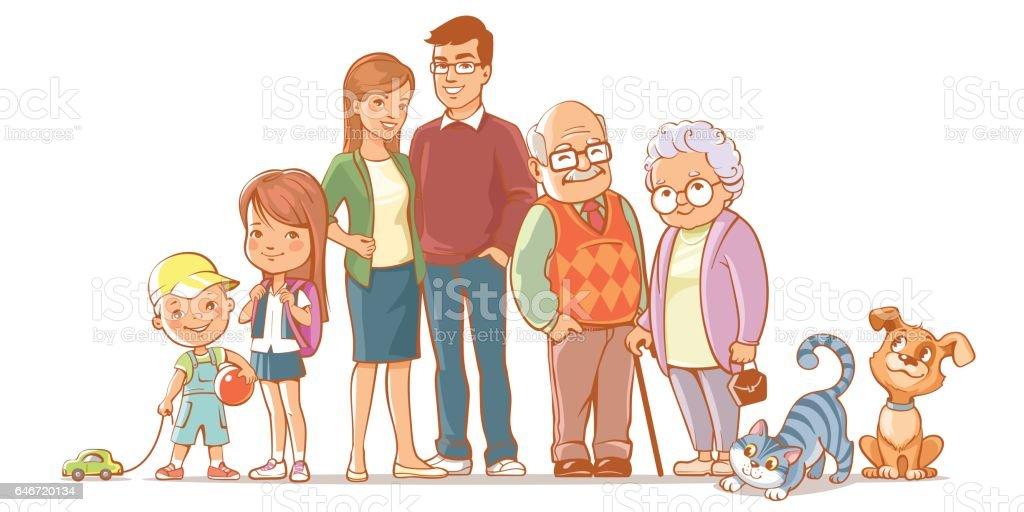 幸せ家族セット ベクターアートイラスト