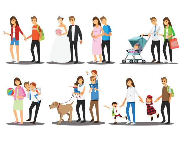 Happy family set ,Vector illustration cartoon character. vector art illustration