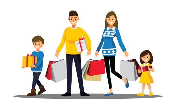 Happy family shopping, Cartoons character vector art illustration