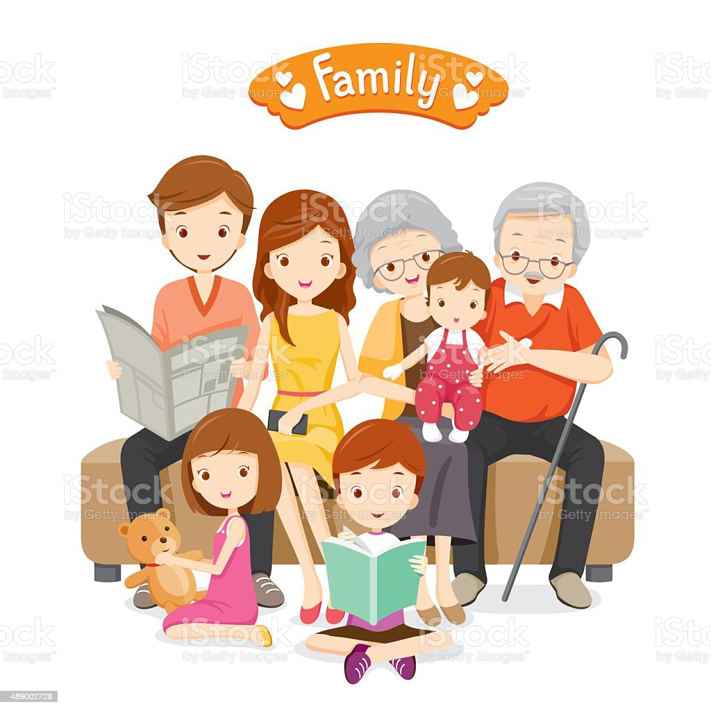 Happy Family Siting on Sofa and Floor vector art illustration