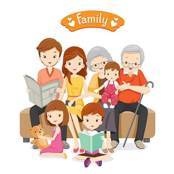 szczęśliwa rodzina na kanapie i umiejscowienie podłogi - babka dziadek i babcia stock illustrations