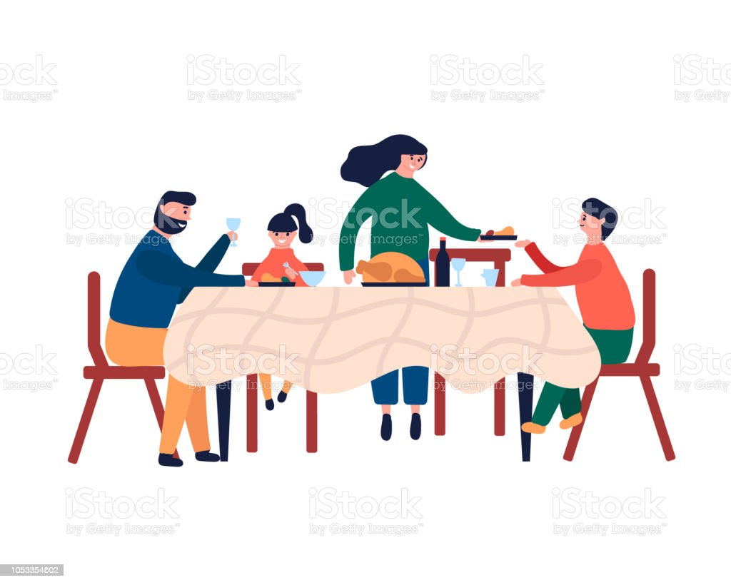 Happy family sitting at dinner table and eating turkey - arte vettoriale royalty-free di Adolescente