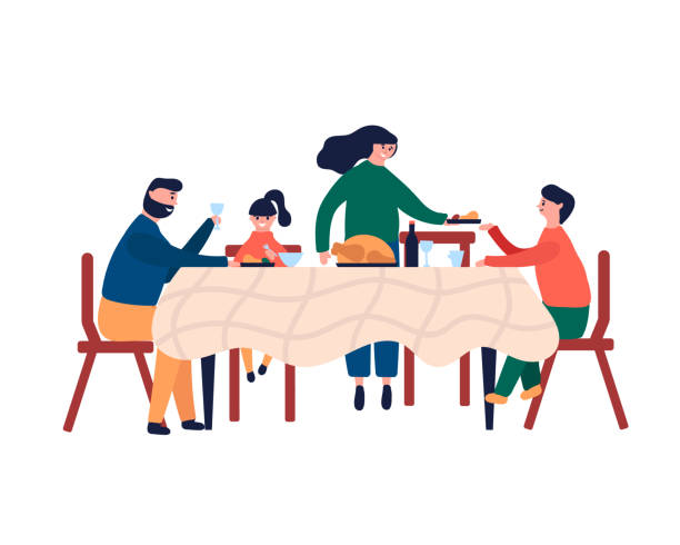 illustrazioni stock, clip art, cartoni animati e icone di tendenza di happy family sitting at dinner table and eating turkey - cena natale
