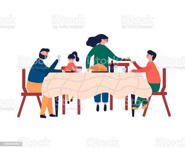 Happy Family Sitting At Dinner Table And Eating Turkey - Immagini vettoriali stock e altre immagini di Adolescente