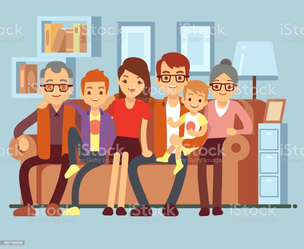 Happy family sitting on sofa. Grandpa and grandma, parents and kids flat vector illustration vector art illustration