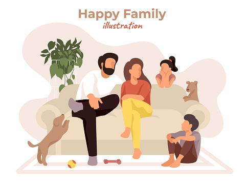 Happy family sitting on the comfy couch and talking. Parents and children have fun with dogs in cozy home. Cartoon interior in natural colors. Modern stay safe vector illustration