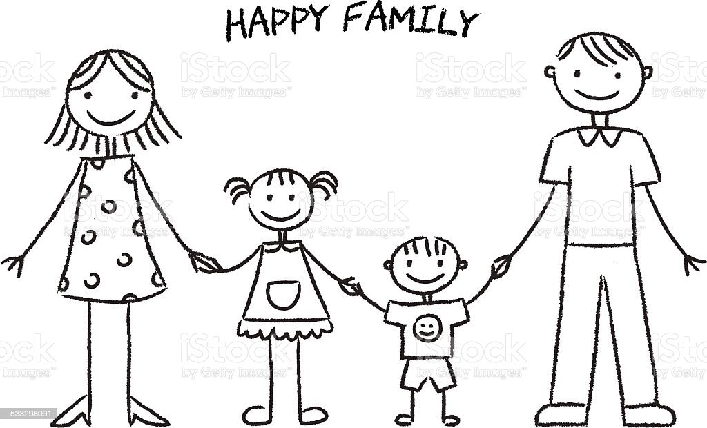 Happy Family Sketch Stock Vector Art More Images Of 2015