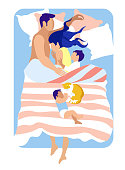 Happy Family Sleeping Together in One Bed. Young Couple Hugging Each Other, Little Son Embrace Mother, Baby Boy with Cat Lying on Blanket Above. Love Sweet Life Moment Cartoon Flat Vector Illustration