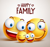 Happy family smiley face vector characters together