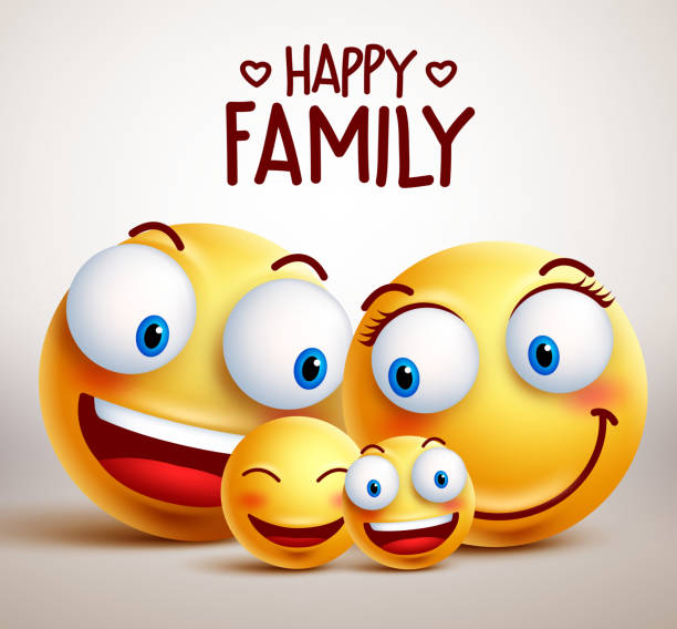 Happy family smiley face vector characters together vector art illustration