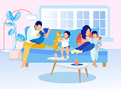 Happy Family Spend Time Together Motivate Illustration. Father Lulling Baby. Mother Reading Book for Son. Boy Playing with Cat. Parents and Kids on Sofa in Living Room at Home. Vector Flat Cartoon