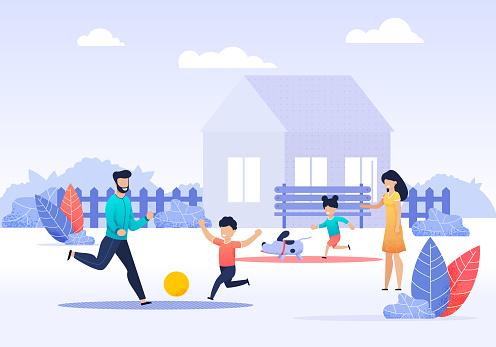 Happy Family Spending Time on Backyard Cartoon