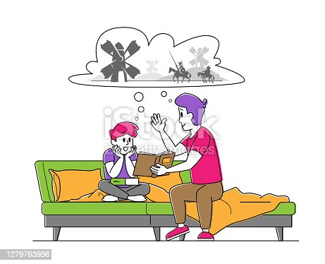 istock Happy Family Spending Time Together. Father Reading Book to Son Sitting on Sofa, Little Boy Listening Dads Fairytale 1279763956