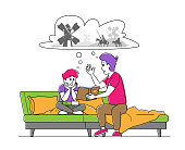 Happy Family Characters Spending Time Together. Father Reading Book to Son Sitting on Sofa, Little Boy Listening Dads Fairytale. Parent with Kid Sparetime at Home. Linear People Vector Illustration
