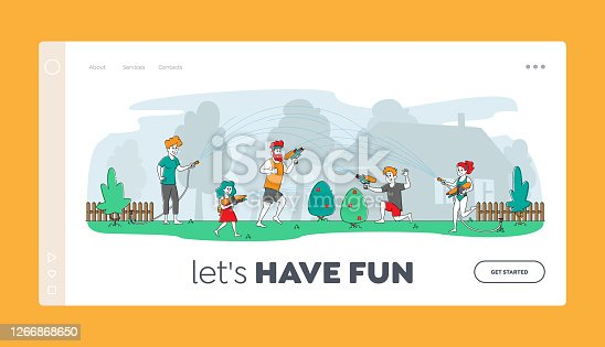 Happy Family Splashing and Playing with Water in Summer Landing Page Template. Wet Characters on Back Yard Shooting with Toy Water Guns, Spraying Aqua with Hose. Linear People Vector Illustration