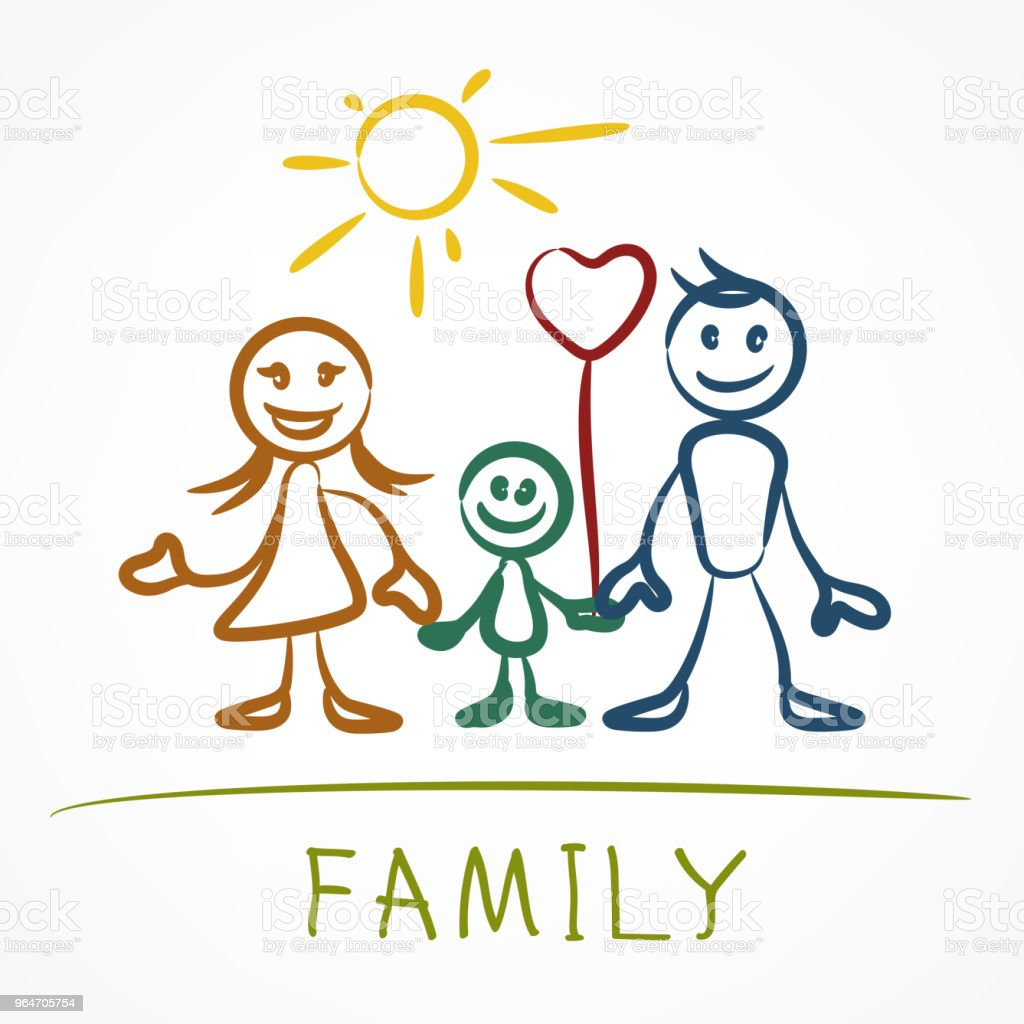Happy family stick figure royalty-free happy family stick figure stock vector art & more images of adult