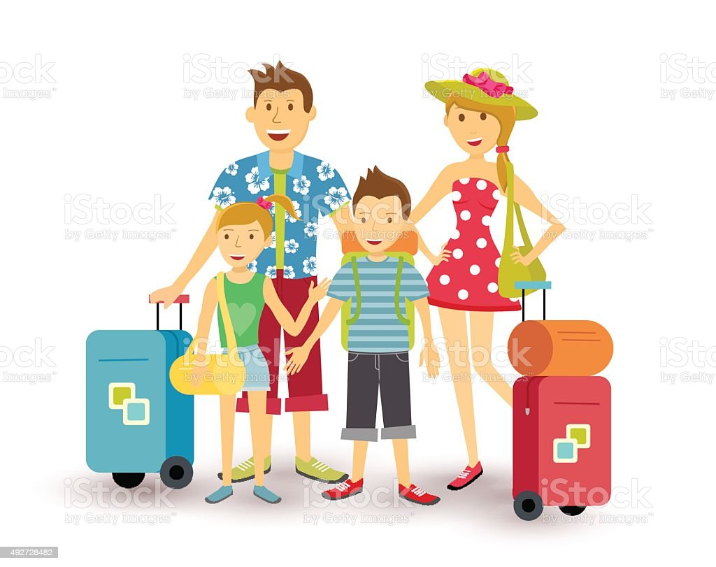Vector Feliz Viaje Familia: Happy Family Summer Vacation Travel Flat Art Stock Vector