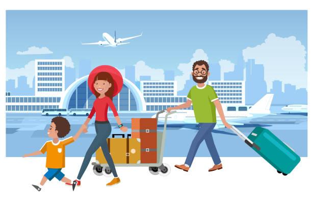 illustrations, cliparts, dessins animés et icônes de concept de vecteur de voyage de vacances d'été de famille heureux - vacances en famille