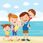 Vector illustration of family having fun at the beach.