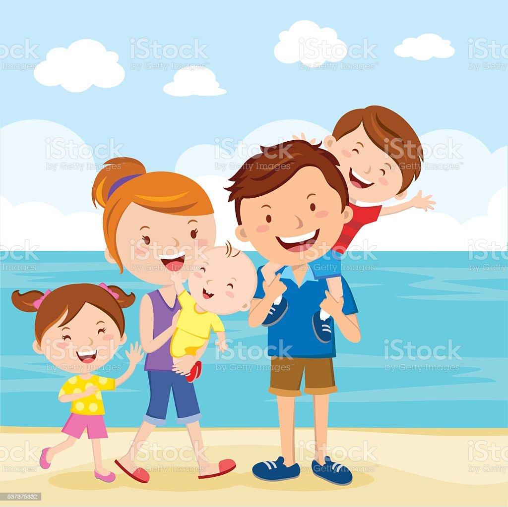 Happy family summer vacation vector art illustration