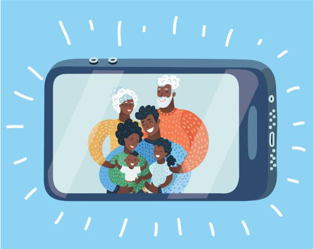 glückliche familie, selbstportrait mit smartphone - elternhochzeitsgeschenke stock-grafiken, -clipart, -cartoons und -symbole