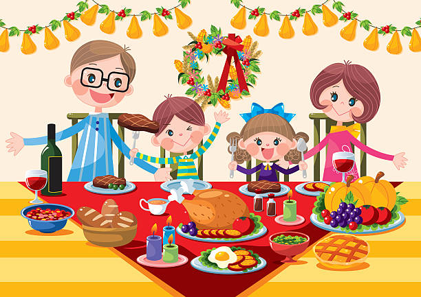 Heureuse famille dîner de Thanksgiving - Illustration vectorielle