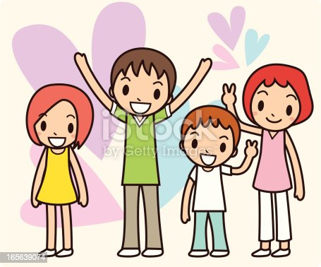 Vector illustration of happy families. Created with adobe illustrator.