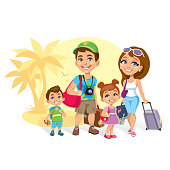 Vector illustration of a happy family tourists