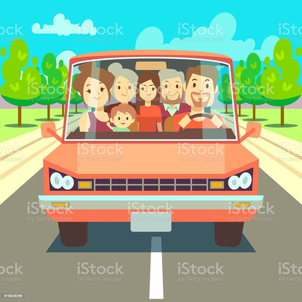 Happy family traveling by car driving on road. Vector illustration - Illustration vectorielle
