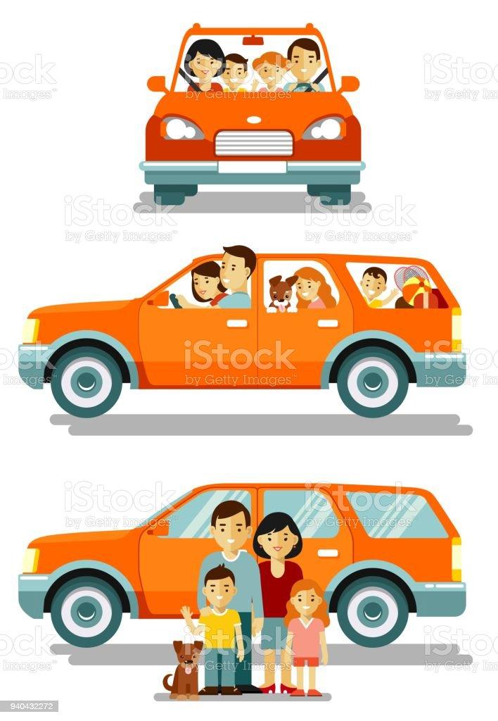 Familia feliz viajando en coche en diferentes puntos de vista frente y lateral - ilustración de arte vectorial
