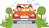 Happy family traveling by car on nature background