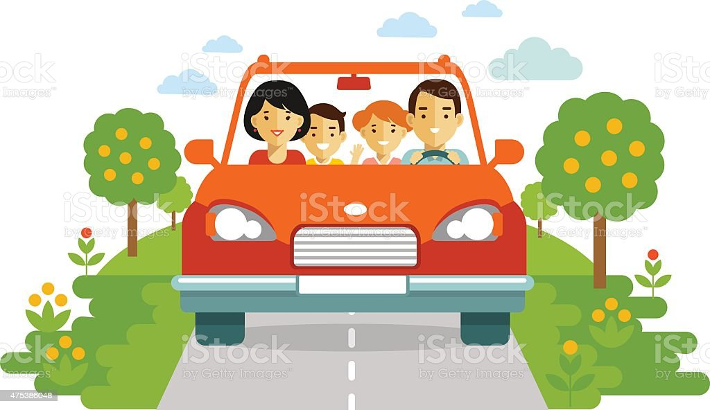 Happy family traveling by car on nature background vector art illustration
