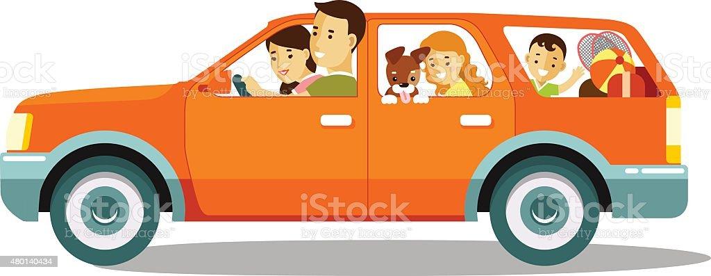 Glückliche Familie reisen mit dem Auto – Vektorgrafik